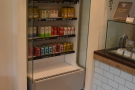 When it comes to drinks, there are soft drinks in a chiller cabinet to the left of the counter.