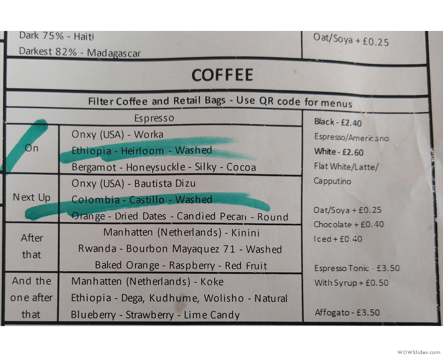 I mean, take a look at that. Coffee from Onyx (US), now from Manhatten (NL).