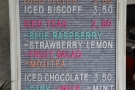 There's an iced drinks menu, although I was more interested in...