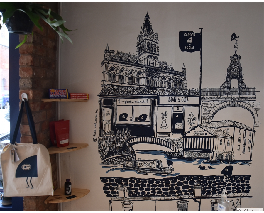 The mural in more detail, name-dropping some more of Chester's coffee shops.