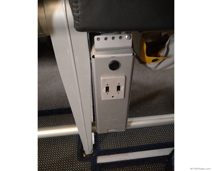 Finally, there was at-seat power on the stanchion between the seats, but only USB.