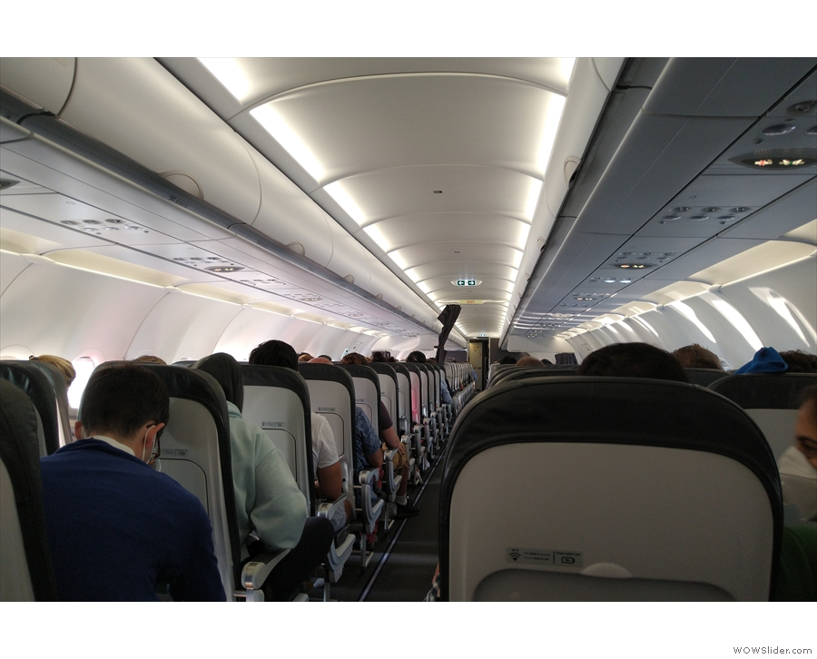 This is the view from my seat, looking forward. You can just see the cockpit door...