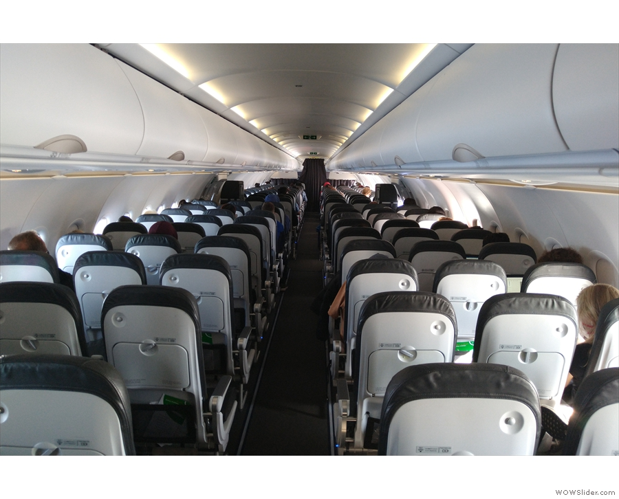 The massed ranks of economy seats as seen from the back. And it's a long way back...