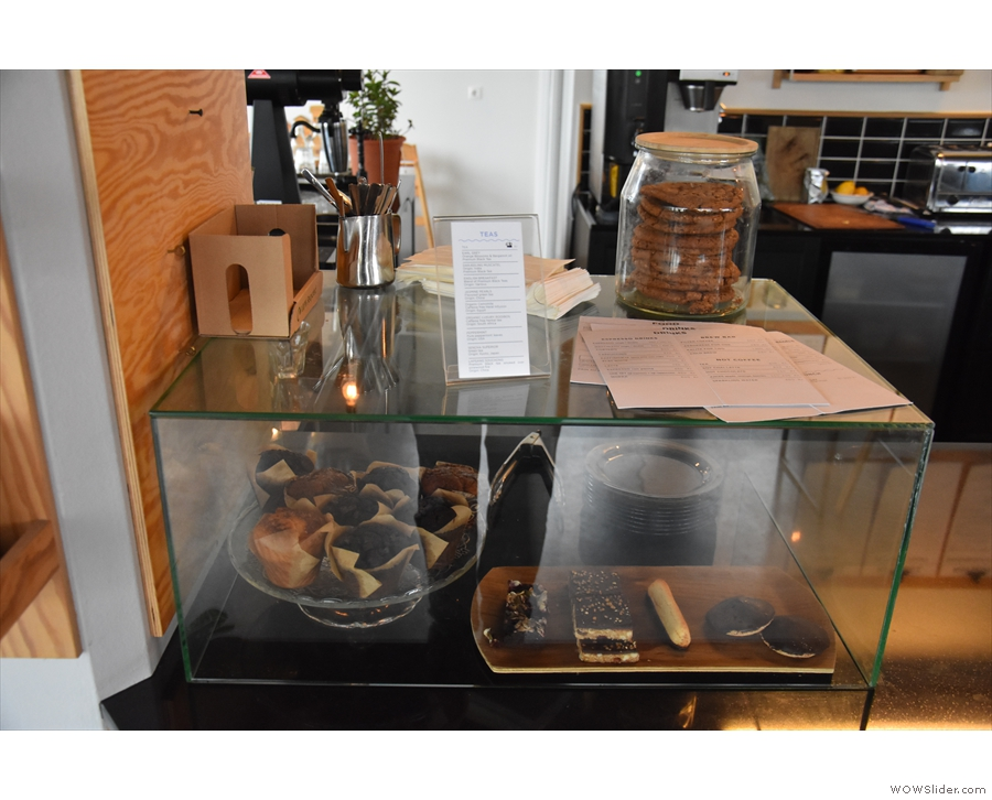 ... while the cakes and pastries are below that in a glass display case.
