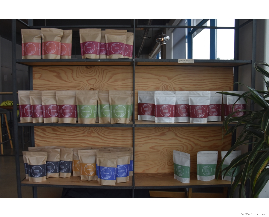 Some of the massed ranks of coffee which greet you as you enter.
