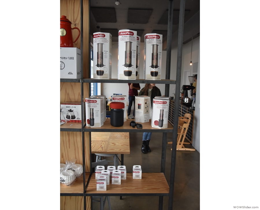 There's also a range of coffee kit, including the AeroPress (seen here) and Kalita Wave.