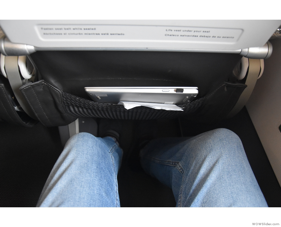 Behold my legroom. Not as much as I had on the way out, but enough.