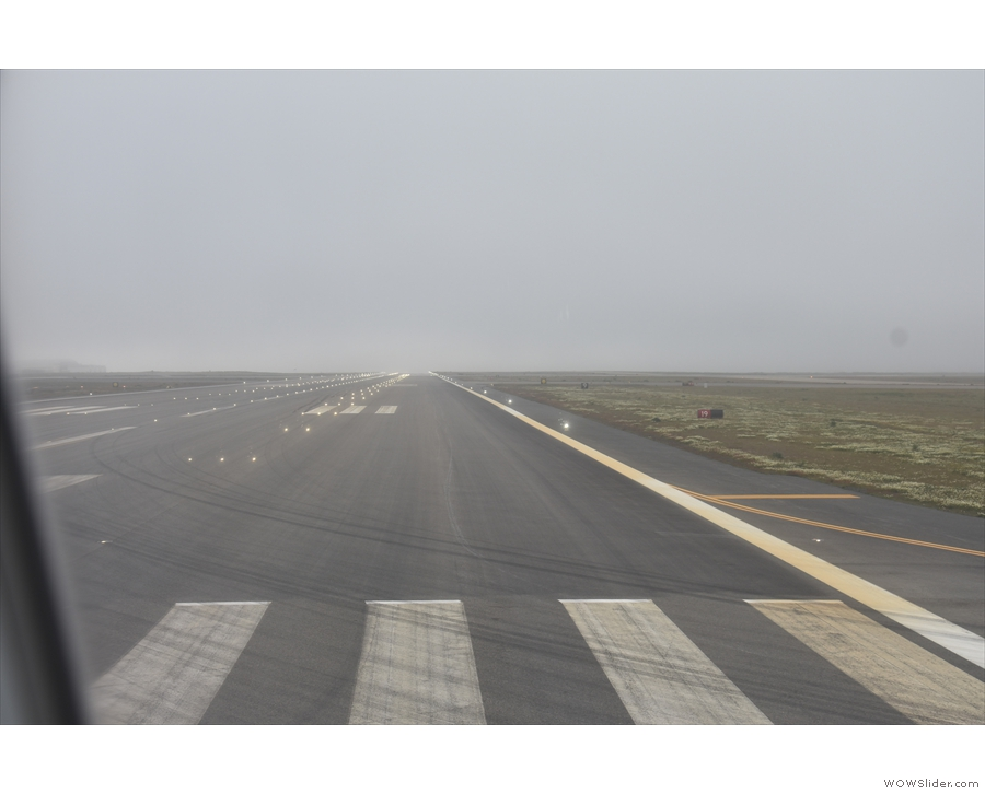 And here we are, at the end of the runway, ready to take off for London Heathrow!