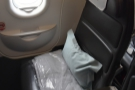 This is my seat, in the front of the two exit rows.