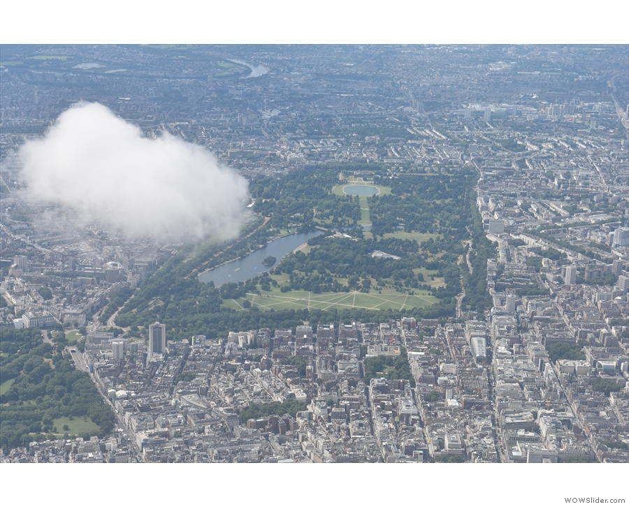 A better view of Hyde Park, with Green Park just to the left at the bottom of the shot.