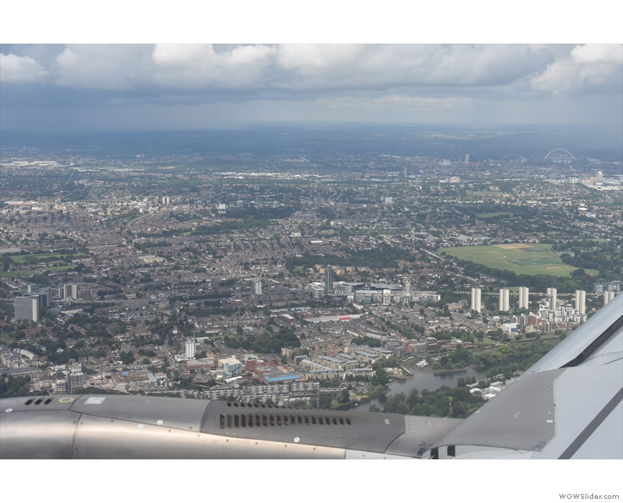 A last look at Wembley Stadium, in the top right-hand corner of the picture.