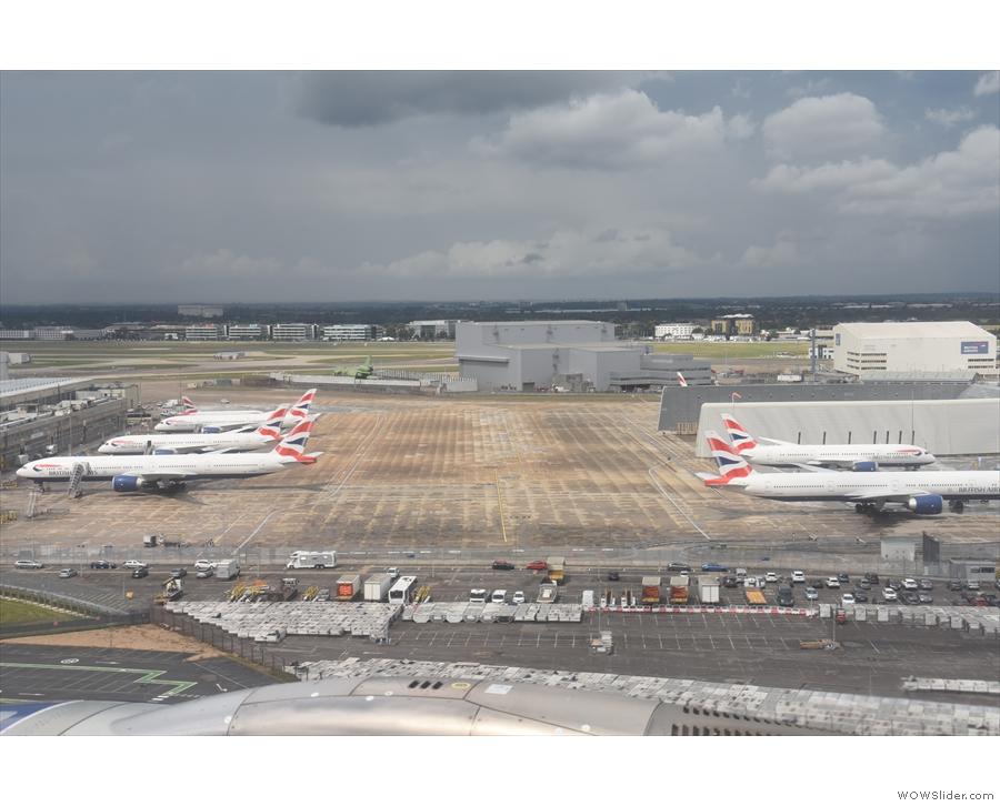 ... passed massed ranks of British Airways planes.