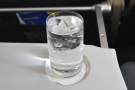 Meanwhile, in Club Europe, our in-flight service started with drinks: sparkling water...