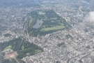 An unobscured view of Hyde Park, with Buckingham Palace now in shot as well.