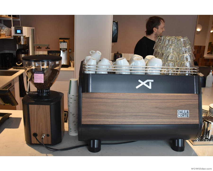 The espresso machine is an XT from Della Corte, the first I've seen in a coffee shop...