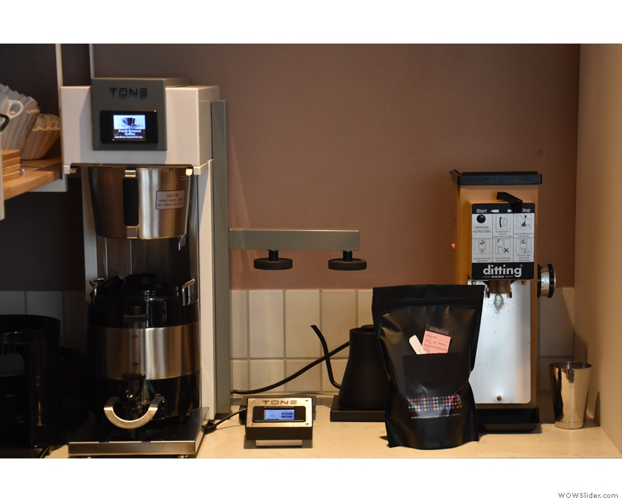 Batch brew and pour-over are just as hi-tech, handled by this Tone Touch 02 unit.