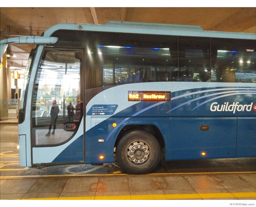 The final leg of my journey, the RailAir coach to Guildford (seen here in early 2020).