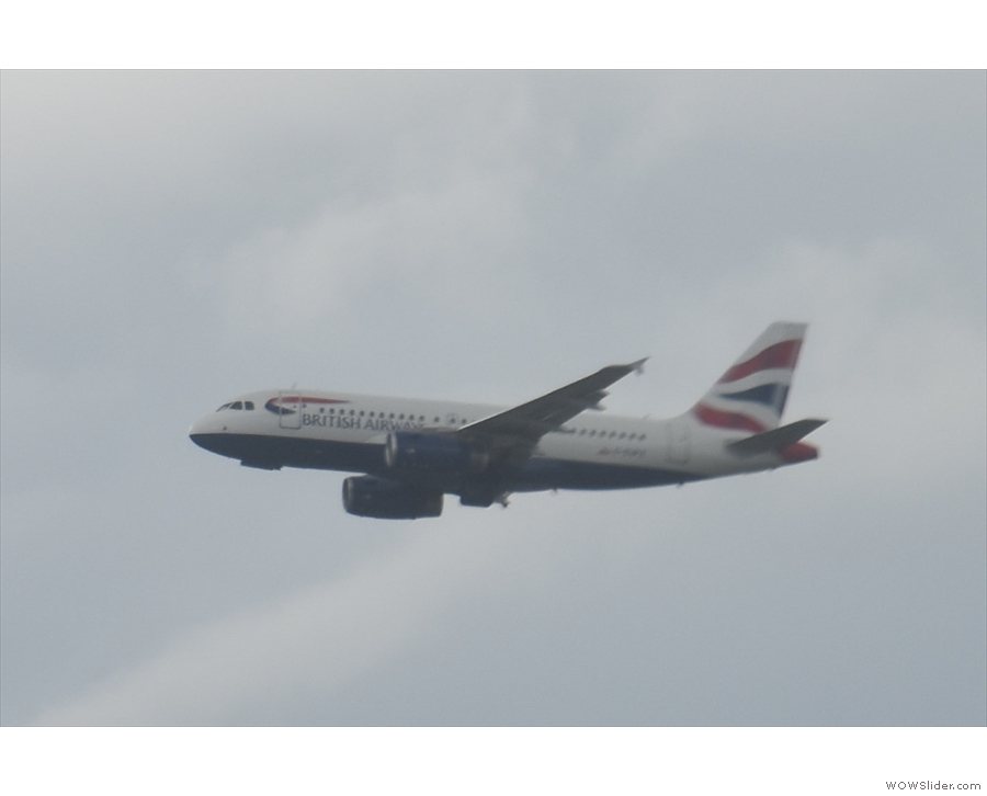 The A319, on its way to Edinburgh, already has its wheels up.