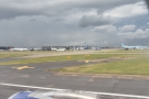 On the ground at Heathrow Airport, having landed on the south runway.