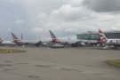 Now there's a first. I don't think I've seen American Airlines planes at Terminal 5 before.