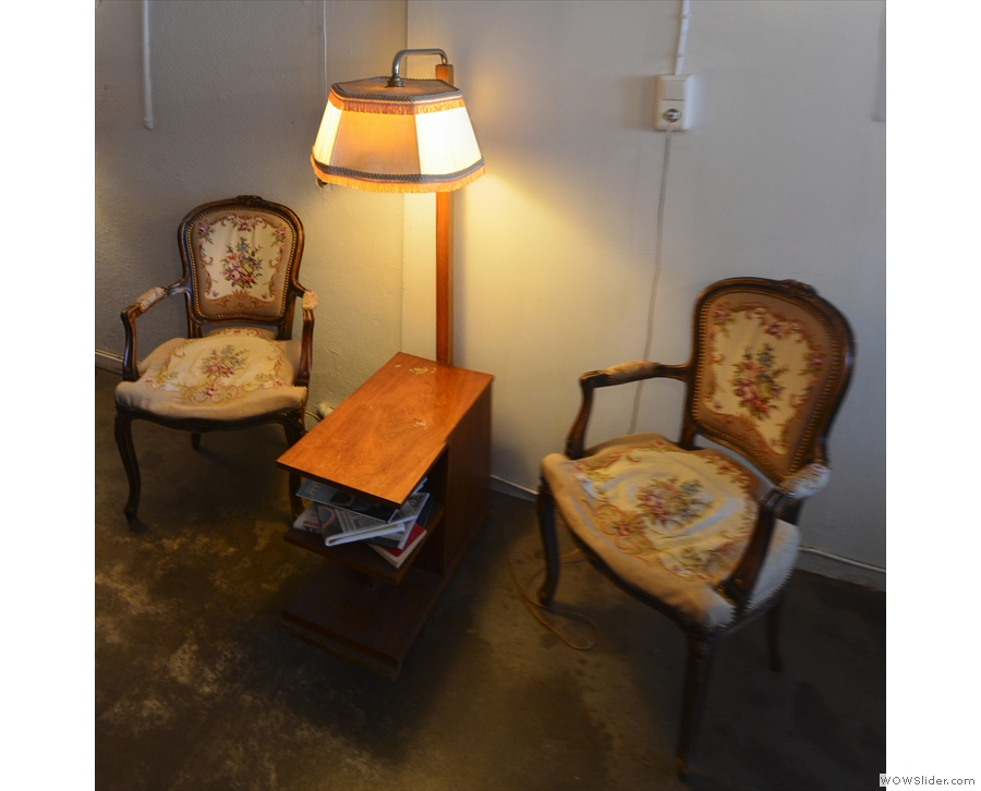 Taking of which, there's another pair of lovely chairs (with a larger coffee table) opposite...