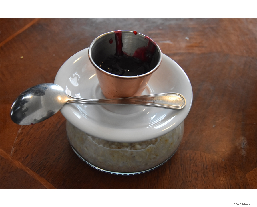 I had the oatmeal porridge (a common theme), which came with a pot of jam on top.