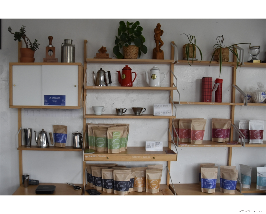 Reykjavik Roasters has an extensive set of retail shelves on the back wall...