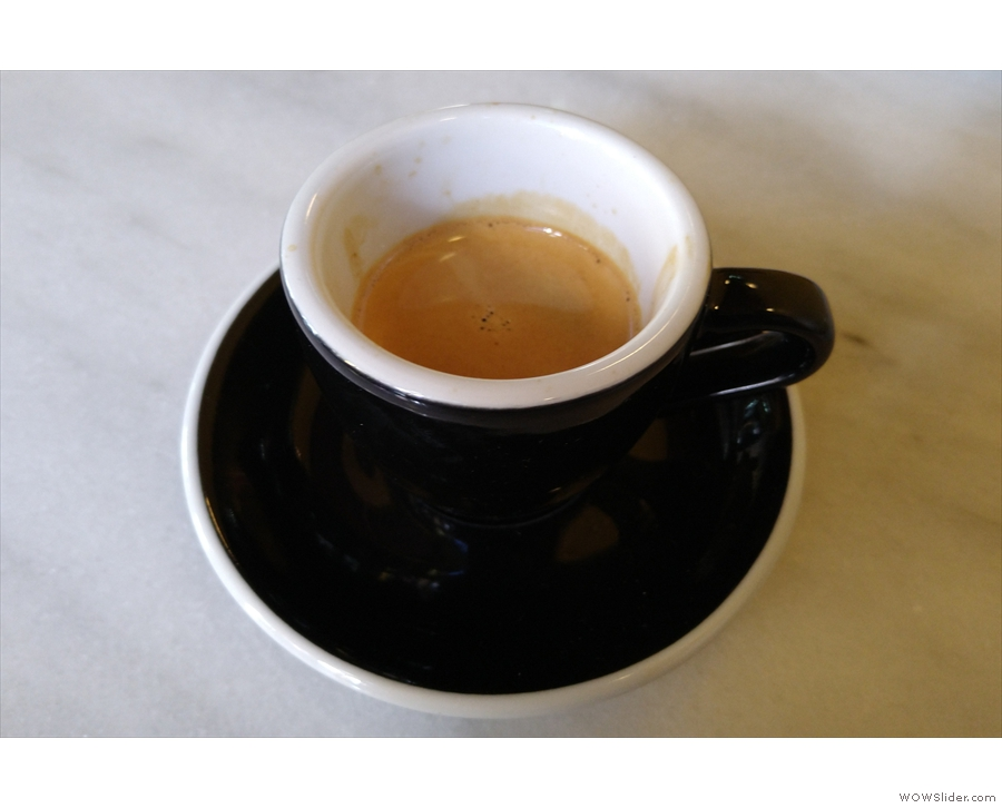 ... filter coffee, while I had an espresso...