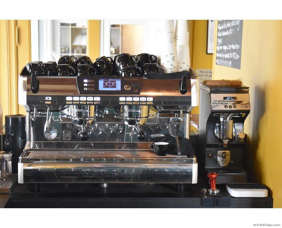 The Nuova Simonelli espresso machine is side on to the counter...