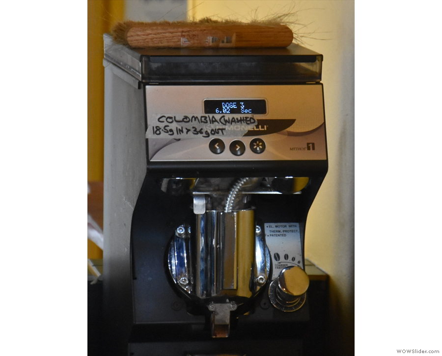 ... along with its Mythos One grinder, with the recipe taped to the front.