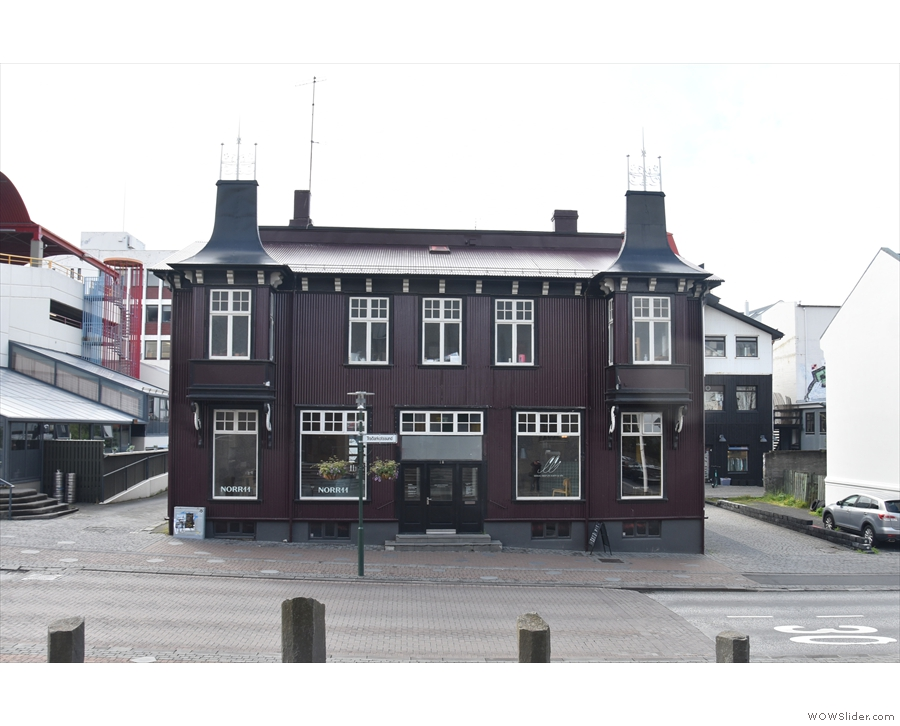 This handsome building stands on Hverfisgata, opposite The National Theatre of Iceland.