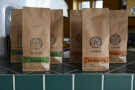 The coffee is from local roaster,  Kvörn, with retail bags displayed on the front corner.