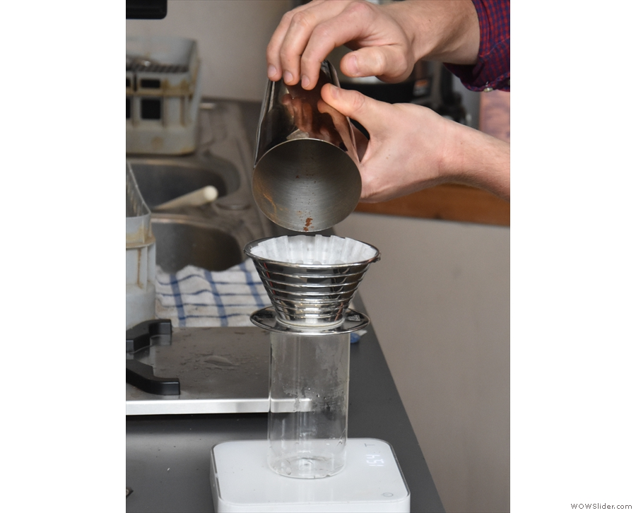 From there, it goes straight into the pre-prepared Kalita Wave filter, which is then...