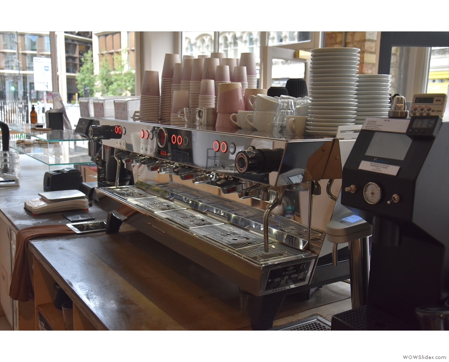 Now there's a custom-built four-group La Marzocco KB90. Very swish!