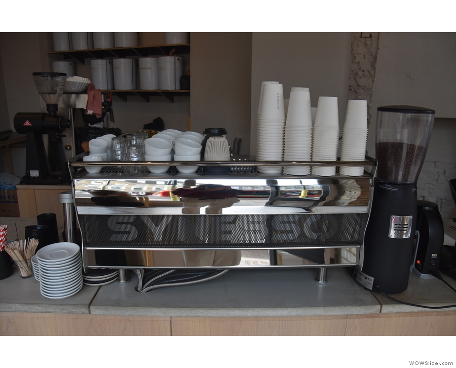 In 2018, the espresso machine was a rather swanky Synesso...