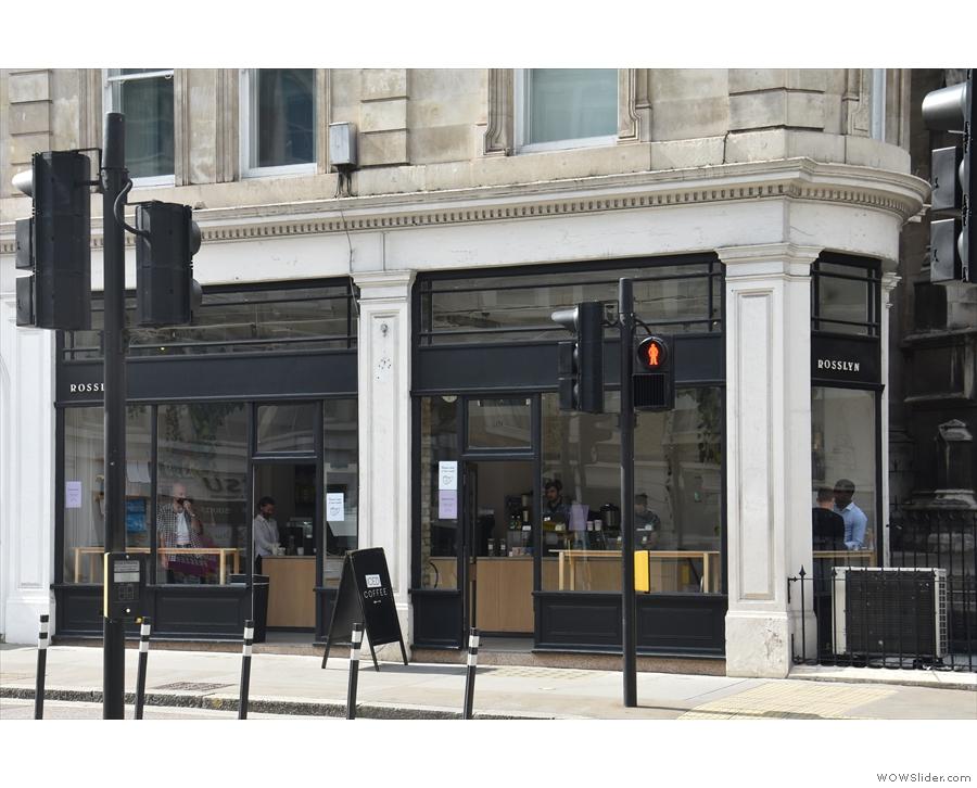Rosslyn Coffee on Queen Victoria Street, seen from across the street in July 2021.