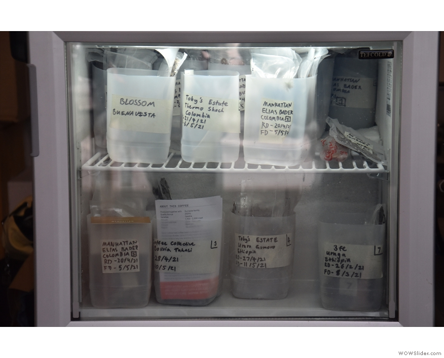 The Off Menu Coffees are vacuum-sealed as individual doses and stored in a freezer...