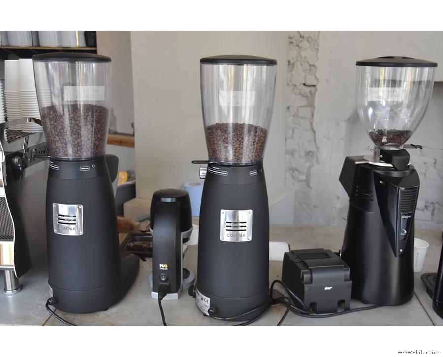 ... replacing the original Compak grinders (house-blend, single-origin and decaf).