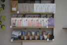 The lovely ceramic cups that Rosslyn uses are still on the bottom shelf...
