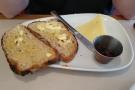 ... while Amanda had sourdough toast, jam and cheese.