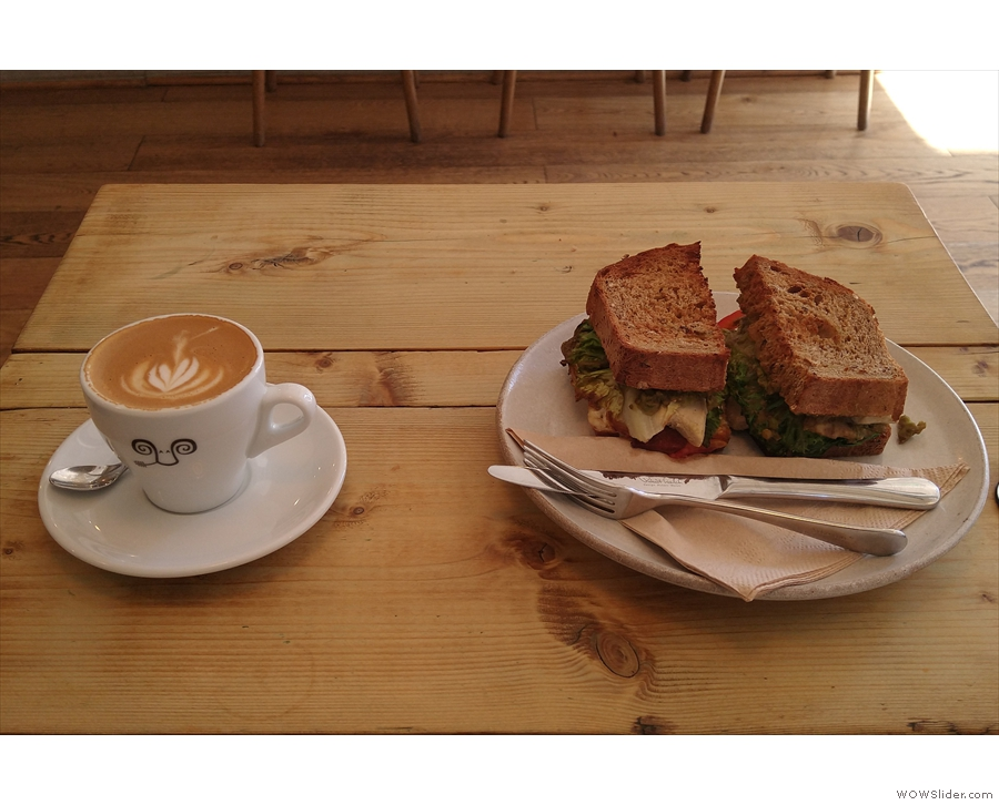 I went for a decaf oat milk flat white and a not-chicken, not-bacon sandwich.