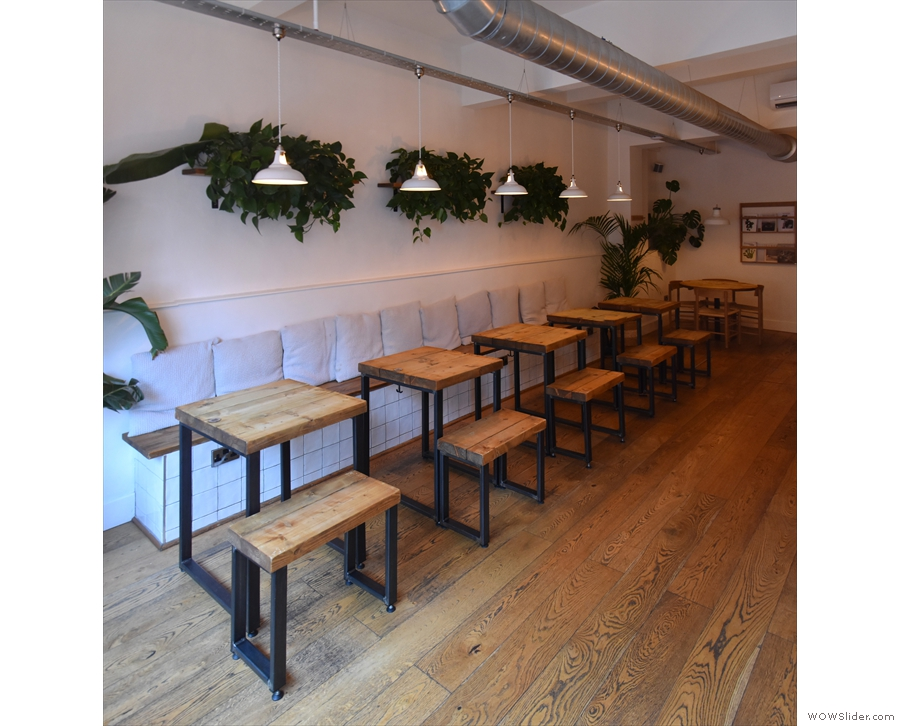 Alternatively, there is a long bench down the left-hand wall, lined with two-person tables.