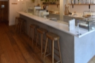 You can also sit at the counter, if you want, where there are six tall stools.