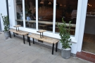 I like the design of the two outside benches with their in-built coffee tables.