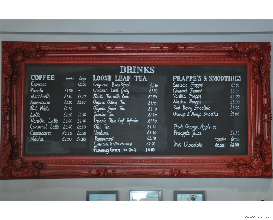... the coffee menu from the back wall.