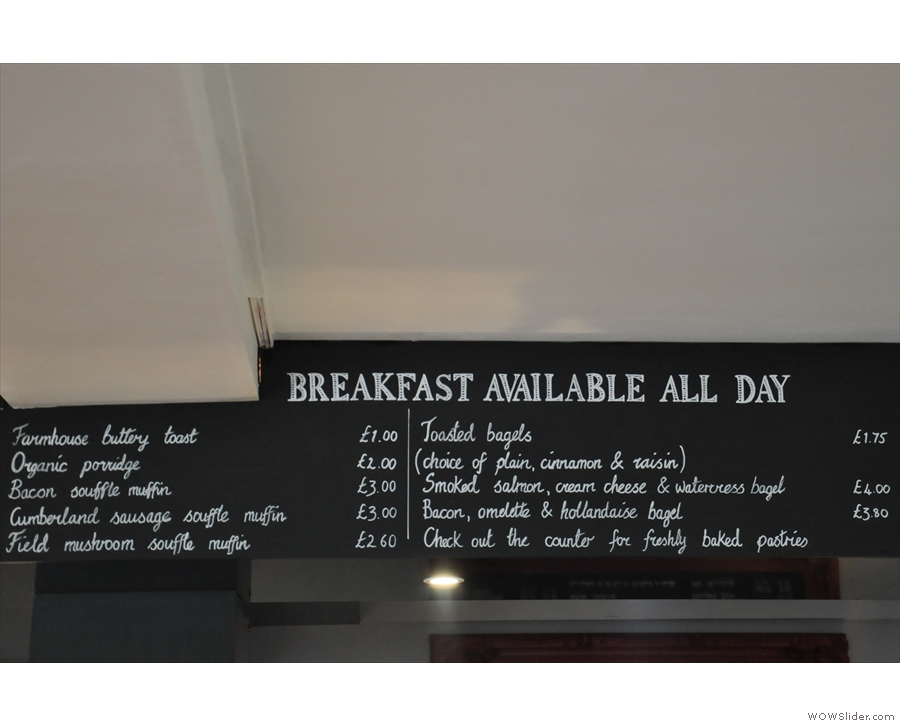 The menu above the counter has gone, as has...