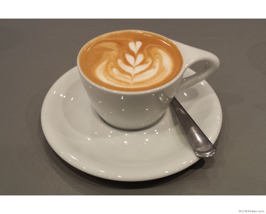 ... pairing it with a flat white...