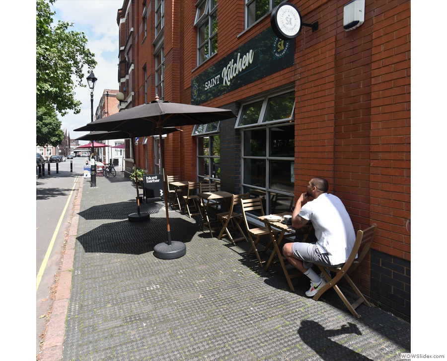 If you want to eat outside, there's a choice of three tables in front of the windows.