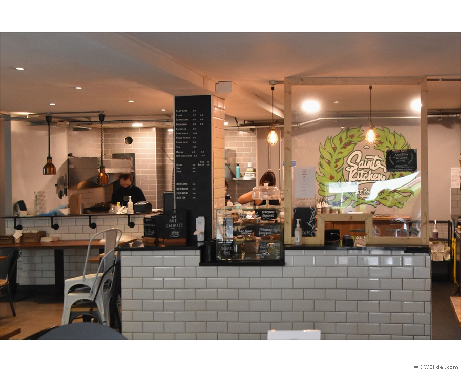 ... go straight up to the counter to order. Check out the open kitchen to the left...