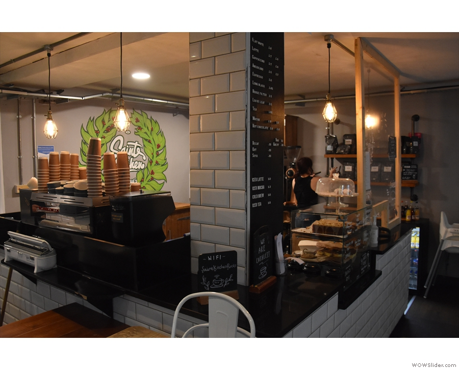 ... while the espresso machine is tucked away down the left-hand side of the counter...